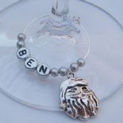 Santa Head Personalised Wine Glass Charm